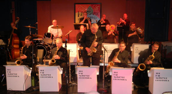 Drummer Don Pentleton, 5 saxes, 3 trombones, 3 trumpets