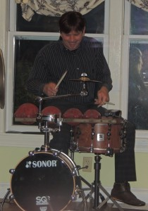 Jeff on snare drum, one 6 inch cymbal