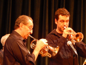 Father and son on cornet