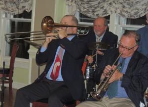 Trombone, drums, trumpet