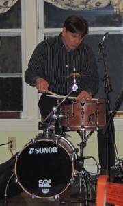 one snare drum, one tom used as bass, one six-inch cymbal