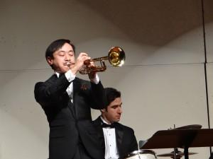Gordon on trumpet, Kevin on drums