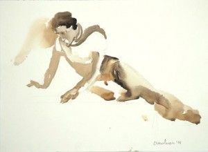 Carolyn's water color picture of a lady sitting sideways, leaning on her  arms