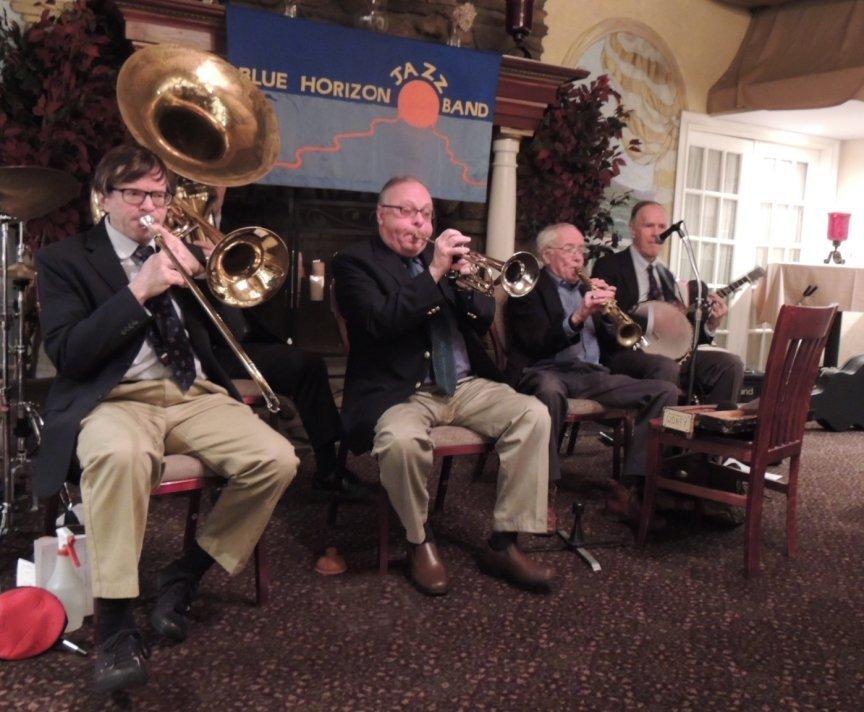 trombone, trumpet, sax, banjo