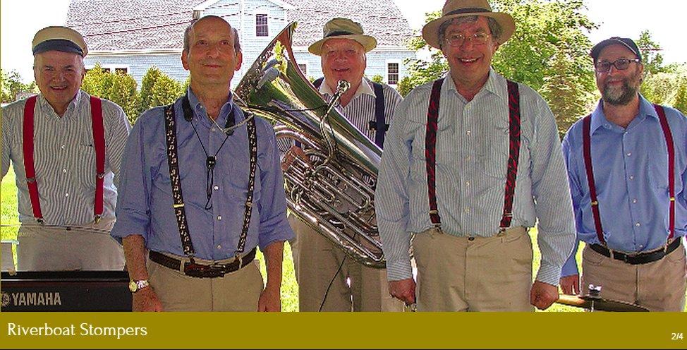 5 musicians in suspenders