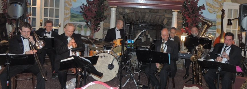 7 pc trad jazz band, with guitar and 2 reeds