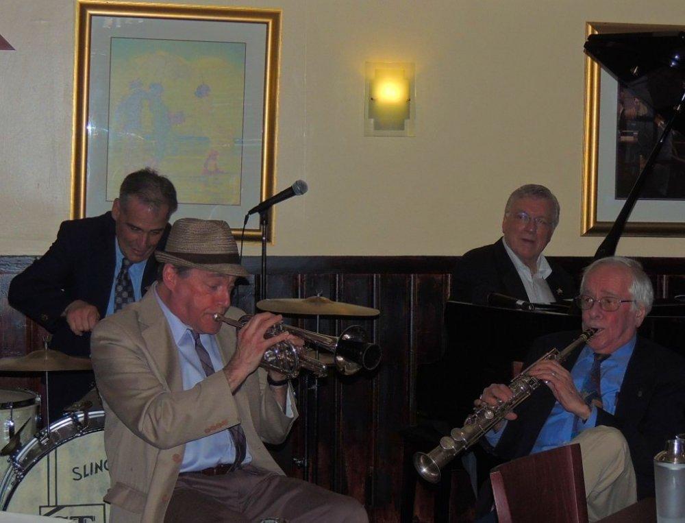 drum, trumpet, piano, soprano sax