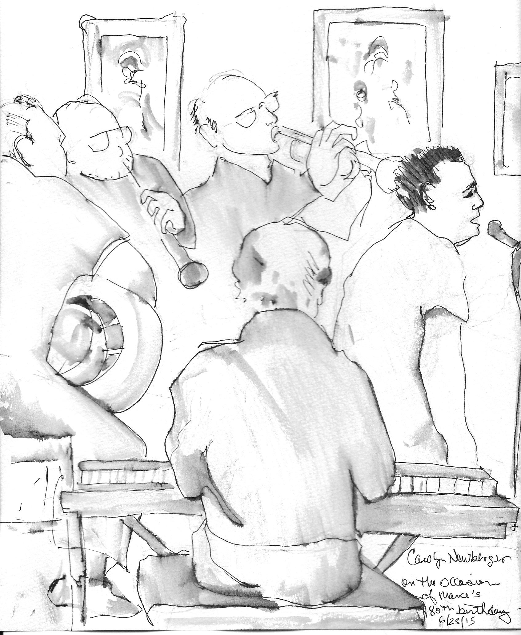 pencils sketch of all musicians except Herb Gardner, who was erased so she could add David