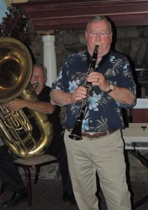 Pete on clarinet with tuba in background