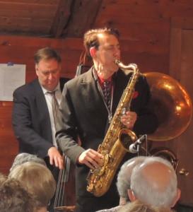 Dan on tenor sax with Brian Nalepka behind him