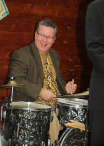 Lawlor at drums with a snare