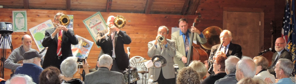 Tom Boates and Jim Fryer trombone with band