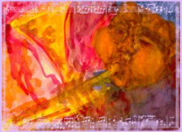 colorful abstract of Diz on trumpet