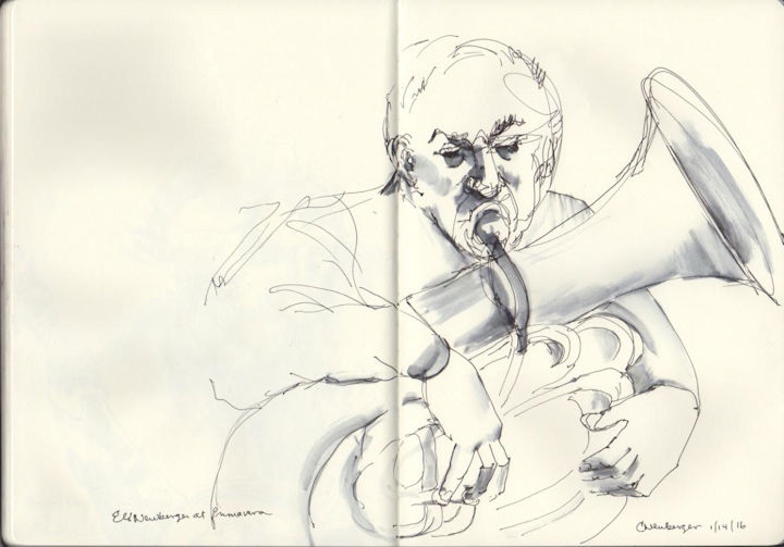 Eli on tuba sketch goes across both pages of the sketch book