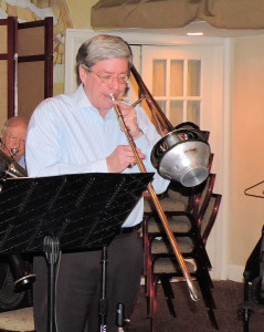 Frank on trombone with two mures