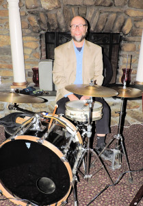 Rich posing at the drums