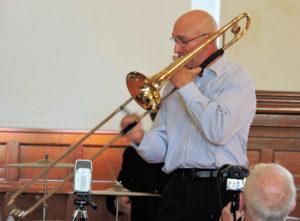 Lee on trombone