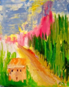 colorful painting of sandy path and trees, sky