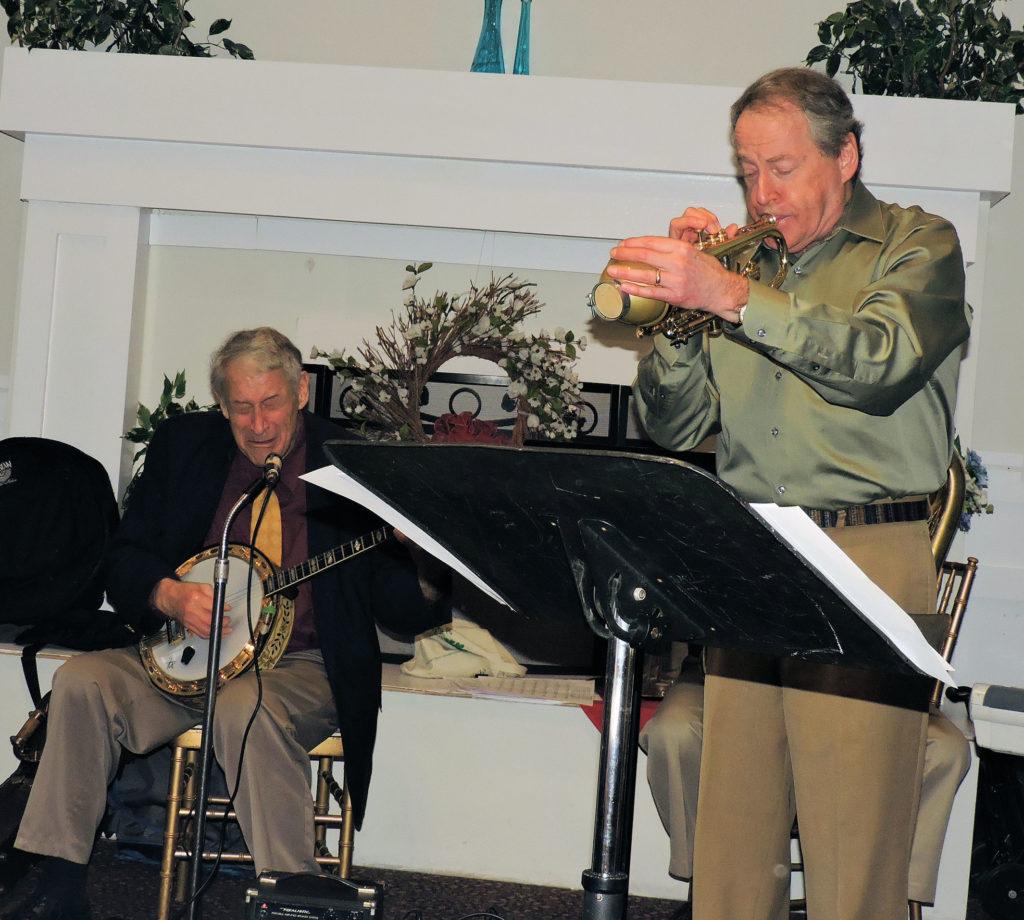 Jimmy singing, Jeff playing cornet
