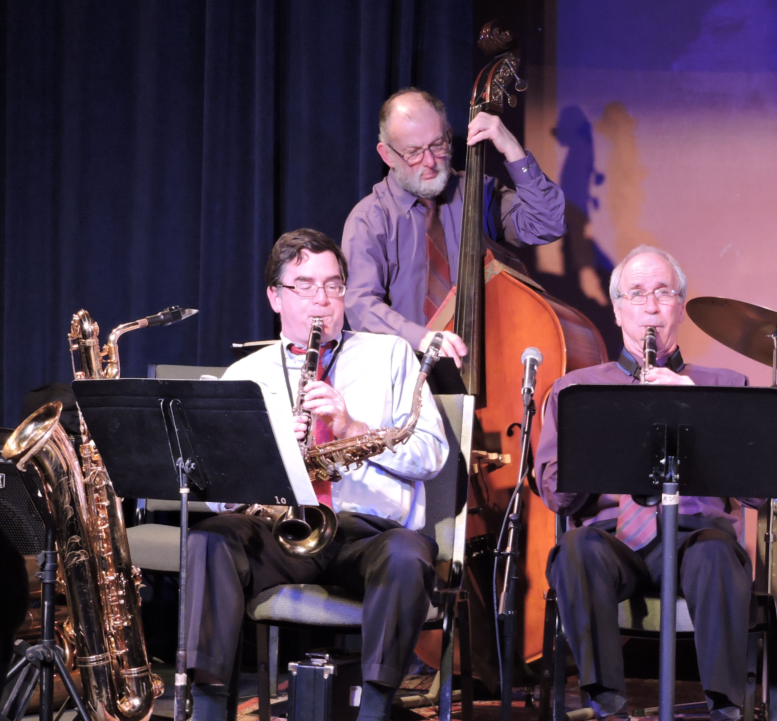 two clarinets and double bass